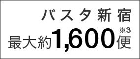 バスタ新宿の、1日あたりのバス最大発着数最大約1600便
