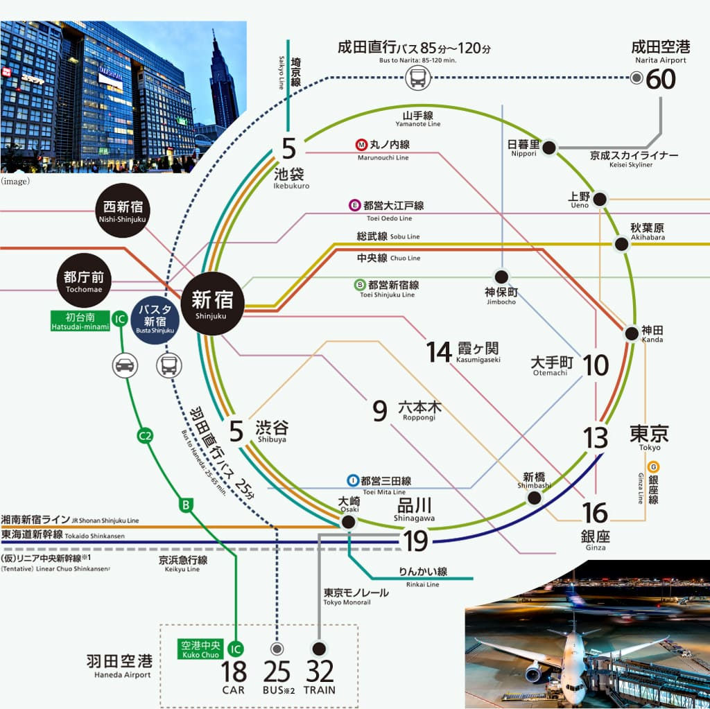 新宿住友ビル三角広場は、池袋・渋谷・品川などの首都圏からアクセスしやすい好立地。