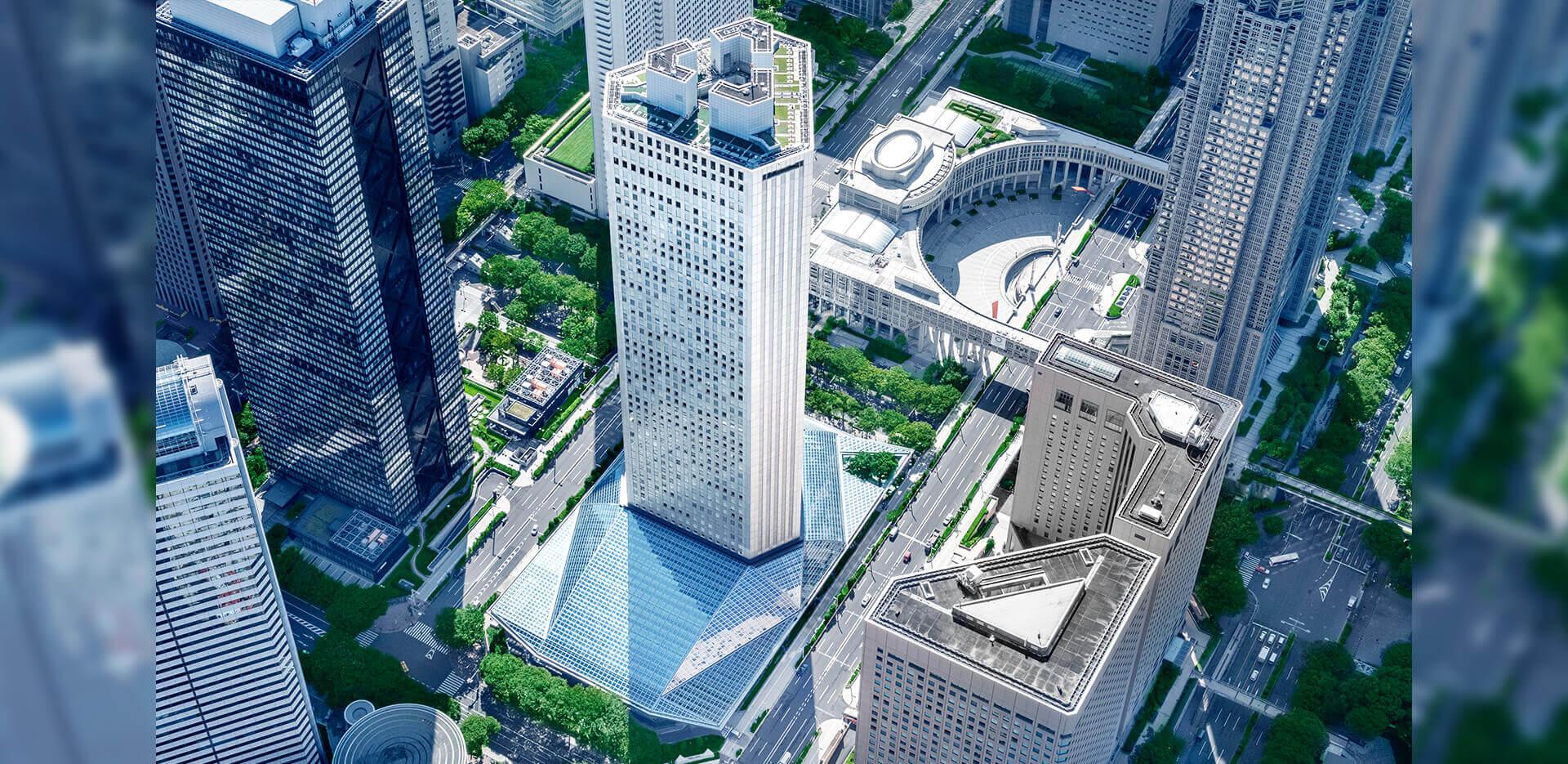 2020年リニューアルする都庁駅前直結予定のイベント会場「新宿住友ビル三角広場」外観完成予想図